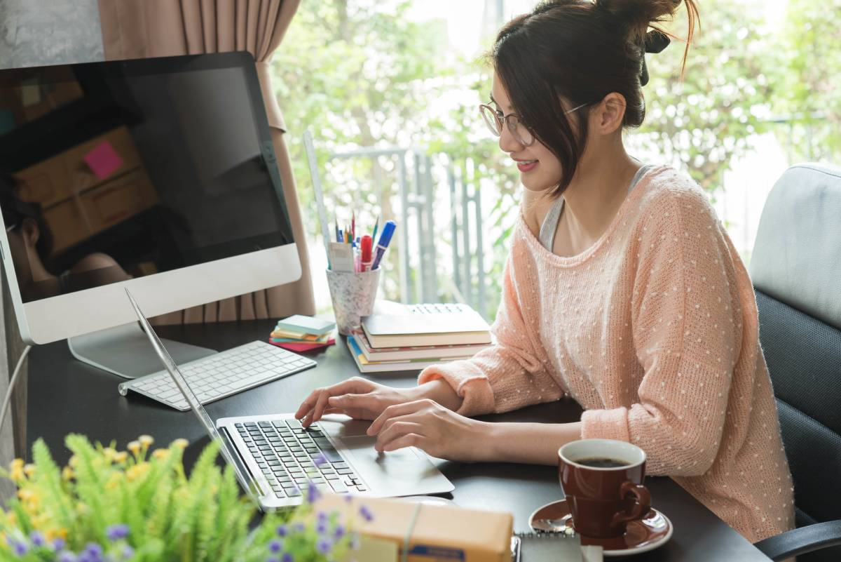 A woman working from home in her office