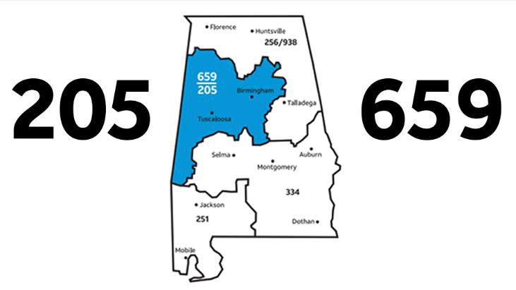Area codes for Alabama