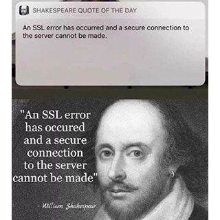 Shakespeare quote - An SSL error has occured and a secure connection to the server cannot be made