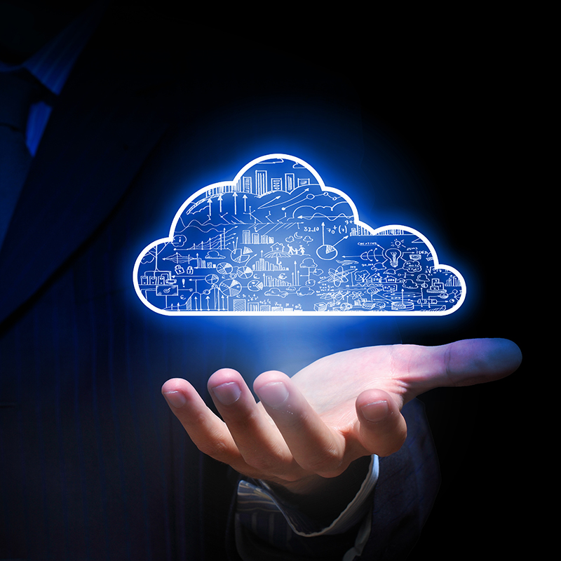 Background of a man in a suit with a digital cloud image hovering over his hand